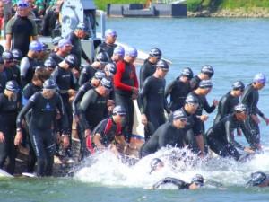 Wohnung in Binz zum Ironman 70.3 im September 2014, Hier: Startende Schwimmer